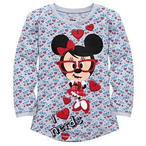 Disney Minnie Mouse Girls I Love Nerds Long Sleeve Tee