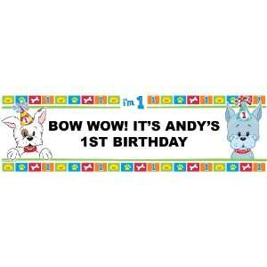 I Love Puppies 1st Personalized Birthday Banner Large 30