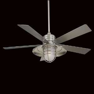 F582 BNW Rainman Outdoor Ceiling Fan Brushed Nickel Wet