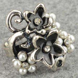 Adjustable Wholesale Lots 24 PCS Tibet Silver Faux Pearl Cocktail Ring