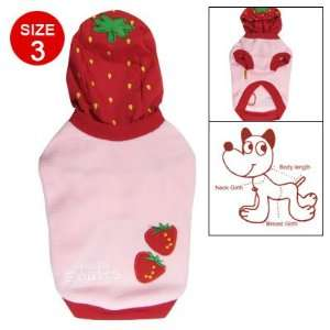 Como Size 3 Red Strawberry Printed Pullover Hoodie Dog