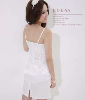 New Korea Womens Elegant White Slim Satin Dress