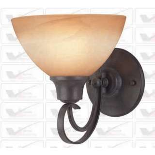 NEW 1 Light Wall Sconce Lighting Fixture, Iron Bronze, Amber Alabaster