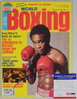 LEONARD AUTHENTIC SIGNED 1982 BOXING WORLD MAGAZINE PSA/DNA #P43356