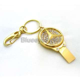 4GB Gold Mercedes BenzKey Keychain USB 2.0 Flash Memory Pen Drive Real