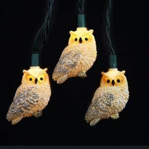 Set of 10 White Owl Glittered Bird Christmas Lights