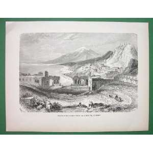 ITALY Sicily Mount Etna View from Taorminium   Antique Print Woodcut