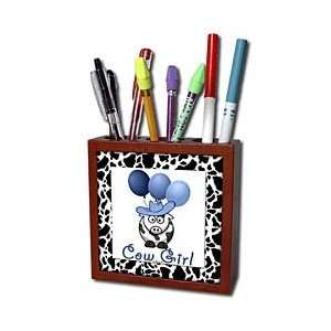 Western Cowgirl with Blue Balloons   Tile Pen Holders 5 inch tile pen