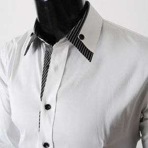 NWT Mens casual double collar cuff slim fit dress shirts WHITE
