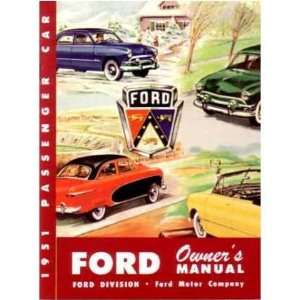 1951 FORD PASSENGER CAR Owners Manual User Guide Automotive