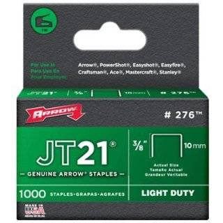 276 JT21 3/8 Flat Crown Light Duty Staples 1000 per Package by Arrow