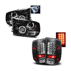 Dodge Ram 1500 Black LED Halo Projector Headlights + LED Tail Lights