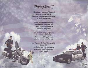 POLICE DEPUTY SHERIFF Poem Prayer Personalized Name Art