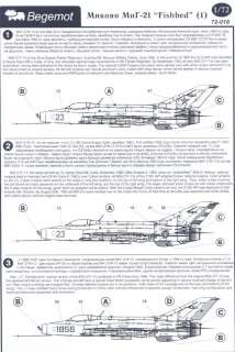 Begemot Decals 1/72 MIKOYAN MiG 21 FISHBED Russian Jet Fighter #1