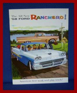 1958 Ford RANCHERO Pickup Truck Car Sales Brochure   MINT New Old