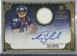 2010 Topps 5 Five Star Football #180 Tim Tebow Jersey Relic On Card