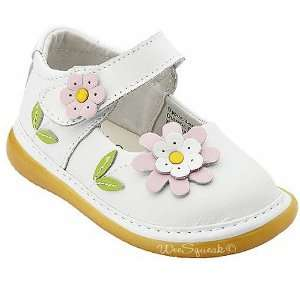 Squeak Baby Toddler Girl White Maryjane Pink Daisy Shoes 3 12 Baby