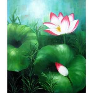 Modern Abstract Art Asian Lotus Flower Feng Shui Oil Painting 632