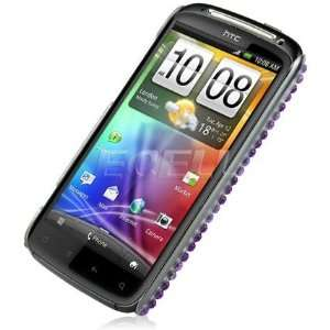 Ecell   PURPLE HEART BLING BACK CASE COVER FOR HTC