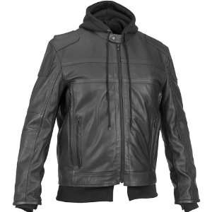 RIVER ROAD CAVALIER HOODED LEATHER JACKET (BLACK
