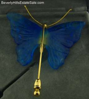 Beautiful Daum Crystal Blue Pate de Verre Butterfly Brooch New in Box