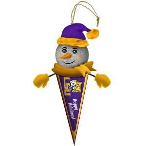 of 3 NCAA LSU Tigers Lighted Snowman Pennant Christmas Ornaments 5