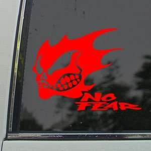 NO FEAR GHOST SKULL LOGO Red Decal Truck Window Red