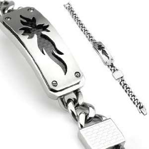316L Stainless Steel Chain Bracelet with Lock and CF Fire