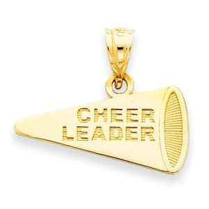 14k Yellow Gold Solid Polished Cheerleader Megaphone Pendant Jewelry