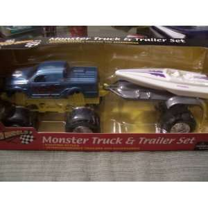 Truck & Trailer Set (Blue Truck with Dynamic Speed Boat) Toys & Games