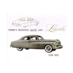 1951 LINCOLN Sales Brochure Literature Book Piece