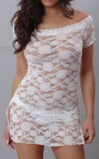 SHEER White Stretch Lace Short Sleeve On Or Off Shoulder Mini Dress