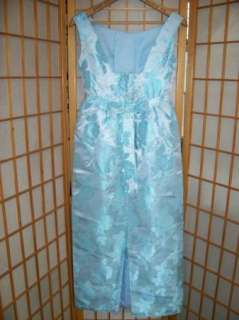Vtg 1950s Early 60s BEAUTIFUL BLUE ROSE SATIN DAMASK DRESS Empire