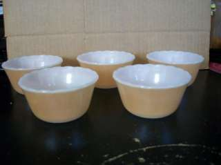 Pc Fire King Peach Lustre Bowl Set Custard Bowls 6 Oz Great Fall