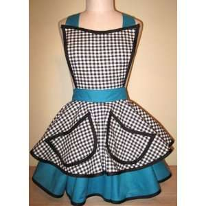 Bettie Page Apron   Gingham Blues