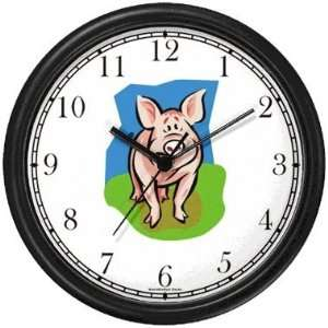 Cute Darling Pig Animal Wall Clock by WatchBuddy Timepieces (Slate
