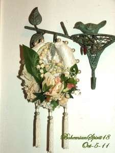 Artisan Handcrafted GOOD LUCK Real HORSE SHOE Floral Victorian Style