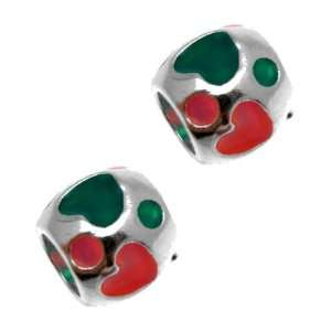 Acosta Beads   Pair of Green & Pink Enamel Heart Spacers