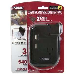 Prime Wire & Cable Travel Surge Protector, Model# PBTSUSB3