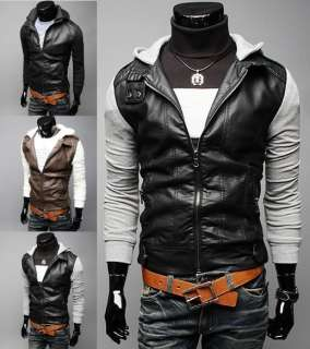Slim Fit PU Leather Coat Jackets hoodies 3 Color 4size E411