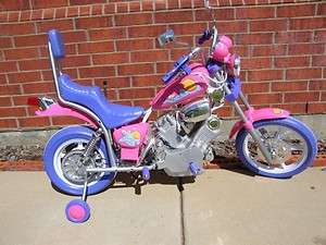 Pink Girl Power Ride on Motorcycle wheels Kid 6v Harley