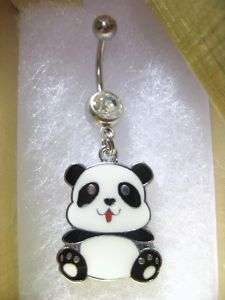 PANDA BEAR NAVEL BELLY RING BODY PIERCING JEWELRY CHARM