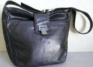 PERLINA BLACK SOFT LEATHER MEDIUM SHOULDER BAG SILVER EXCELLENT USED
