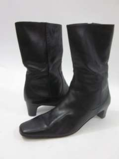 COLE HAAN Black Leather Square Toe Mid Calf Boots Sz 8