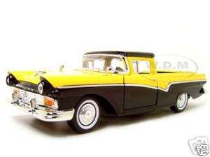 1957 FORD RANCHERO YELLOW/BLACK DIECAST CAR MODEL 1/18