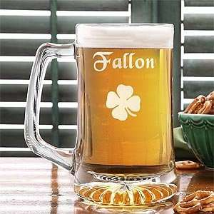 Irish Beer Mug   Glass Four Leaf Clover Design