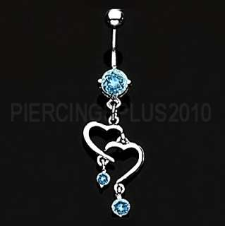 Fabulous double heart TurquooiseTri Gem Dangle Belly Ring Body Jewlery