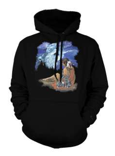 Howling Wolf Moon Indian Girl Cowboy Western Hoodie