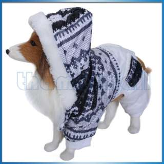 Pet Dog Hoodie Jumpsuit Coat Jacket Clothing Apparel w/ two Pockets On