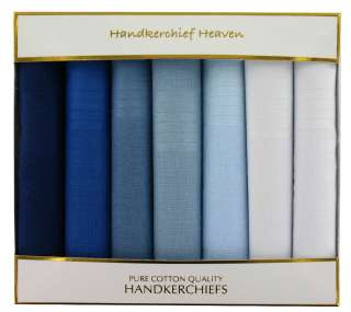 Cotton Mens Handkerchiefs (HH77)   Box Of 7 Different Shades Of Blue